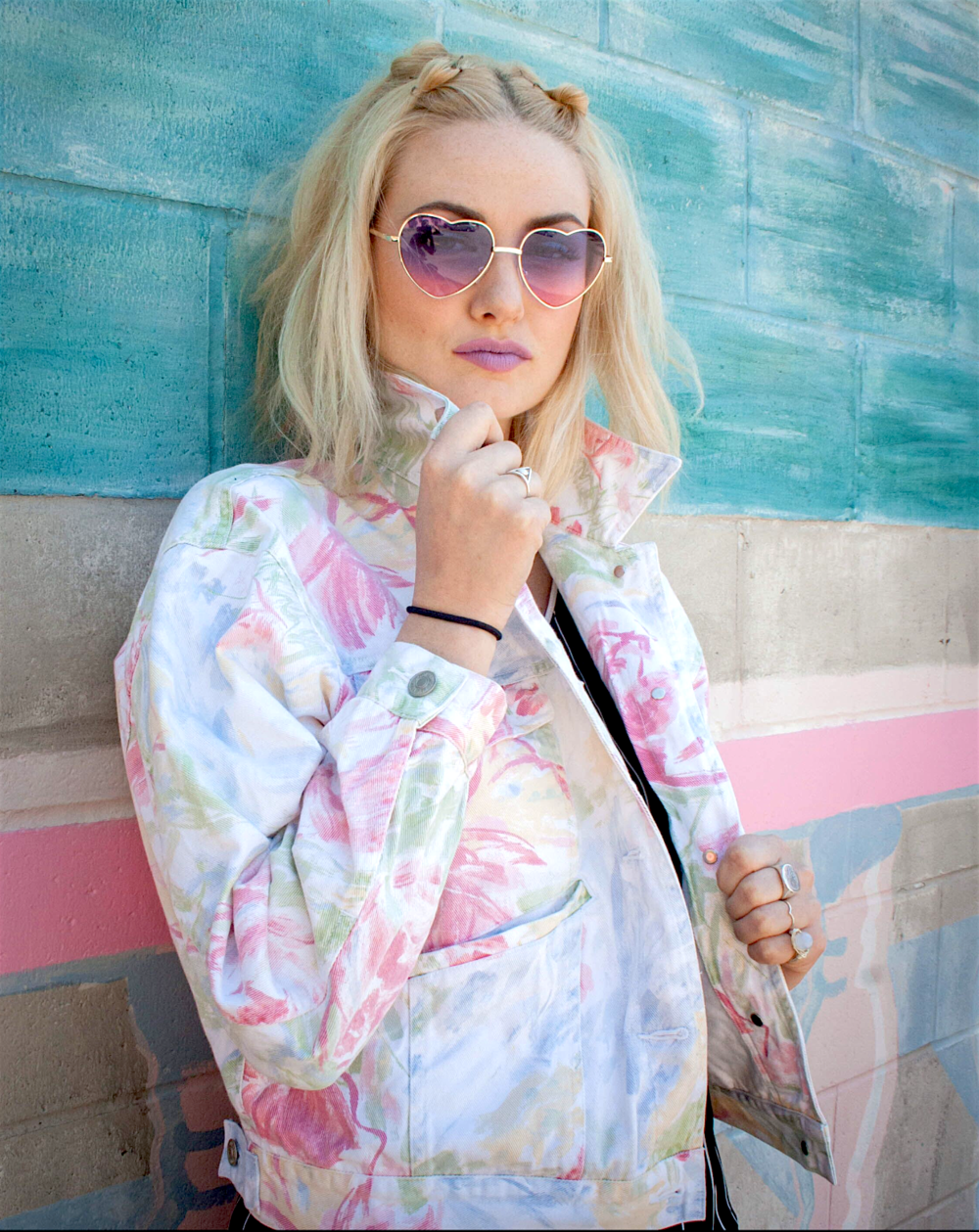 Youngblood wears the  White Denim Floral Jacket  from GOONHOUSE. Makeup:    Trever McWilson . Photography:  Grant Malo