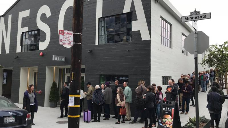 We had dinner at Alta MSP, but those people are actually lined up to see da Vinci's 'Salvator Mundi' just next door. That's the painting that shattered all previous auction art sale records by selling for a whopping $450.3 million!!!