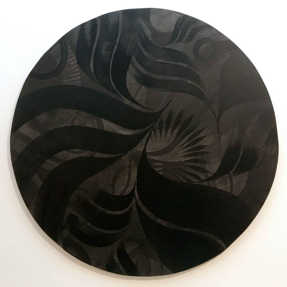 One of the painted wooden circles within the installation (104cm)