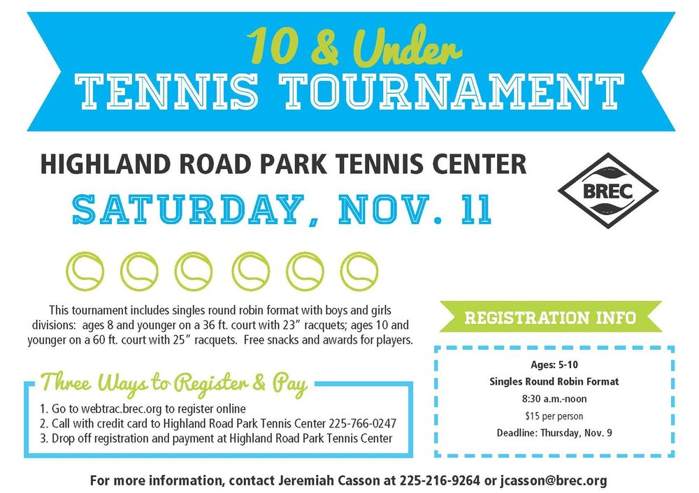 10 & Under TournamentNovember 11, 2017 - Register Here