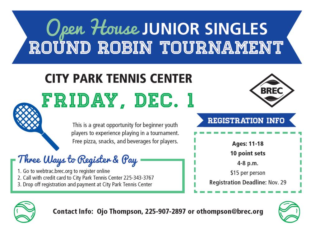 Singles Round Robin Tournament - Register Here