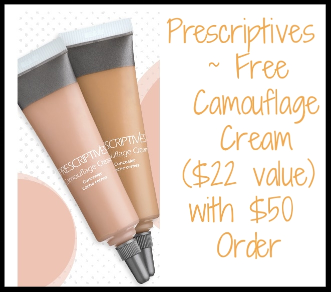 Prescriptives  ~ Free Camouflage Cream ($22 value - 6 shades to choose from) with any $50 purchase (Ends 3/26) + 2 Deluxe Samples with any $25 purchase + Free shipping and returns on any order!