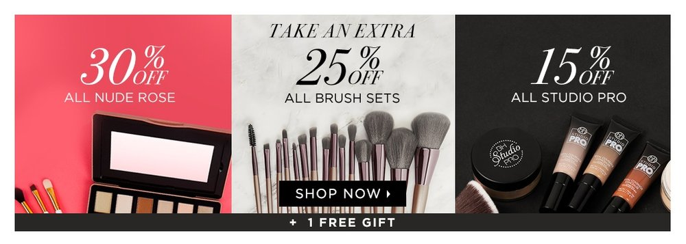 bh cosmetics  ~ Lots of great sales (Ends 4/1) + 1 free gift with any puchase from the above sales + free shipping with $50 order