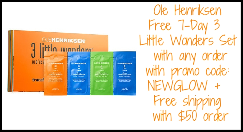 Ole Henriksen ~ Free 7-Day 3 Little winder Set (7 Individual Packets) with promo code: NEWGLOW + Free shipping with $50 order