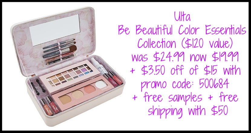 Ulta ~  Be Beautiful Color Essentials Collection  ($120 value) was: $24.99 now: $19.99 + $3.50 off of $15 with promo code: 500684 + free samples + free shipping with $50 order