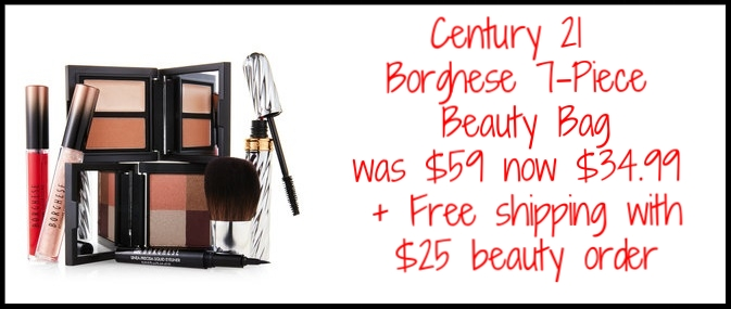 Century 21 ~ Borghese Ready-To-Wear 7-Piece Beauty Bag ~ was: $59 now: $34.99 + Free Jones New York Signature 6-Piece Smokey Eye Kit with any $50 beauty purchase (While supplies last) + free shipping with any $25 beauty order