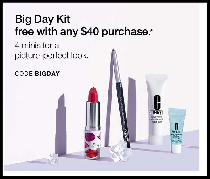 Clinique  ~ Free 4-Piece Gift with any $40 purchase with promo code: BIGDAY (Ends 4/12) + Free shipping with $50 order or Smart Rewards Members receive free shipping on any order. If you're not a Smart Rewards Member, it's free to  sign-up here !