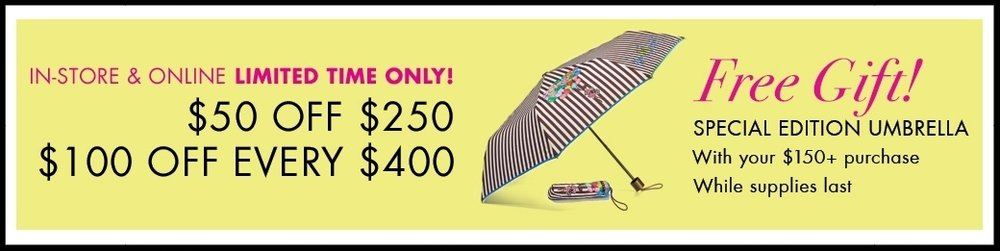Henri Bendel ~ Sale Items plus a Free Umbrella with $150 purchase or $50 off of $250 or $100 of of every $400 on regular price plus free umbrella with $150 purchase AND $15 off full price necklaces + $50 off of $250 OR $100 of of every $400 on regular price plus free umbrella with $150 purchase + Free shipping, returns, and monogramming
