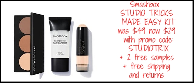 Smashbox ~ Beauty Steal ~ STUDIO TRICKS MADE EASY KIT (3 full-size items ~ ends 4/12) was: $49 now: $29 with promo code: STUDIOTRIX + 2 free samples + free shipping and returns (The 1 ounce primer is $36, the Contour is $35, and the Lip & Cheek Color is $29...$100 value for all 3 Products!)