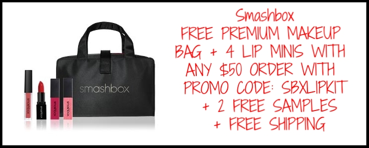 Smashbox ~ Beauty Steal ~ PREMIUM MAKEUP BAG + 4 LIP MINIS WITH ANY $50 ORDER with promo code:SBXLIPKIT (Ends 4/14)+ 2 free samples + free shipping and returns