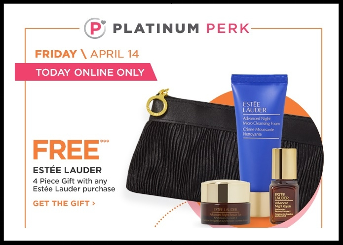 Ulta Platinum Perk ~ESTÉE LAUDER (Online Only) Platinum Perk ~ FREE  4-Piece Gift  with any ESTÉE LAUDER purchase + free samples + free shipping with $50