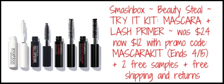 Smashbox ~  Beauty Steal  ~ (TODAY ONLY) TRY IT KIT: MASCARA + LASH PRIMER was: $24 now: $12 with promo code: MASCARAKIT (Ends 4/15) + 2 free samples + free shipping and returns