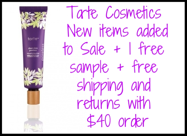 Tarte Cosmetics  ~ New items added to Sale + 1 free sample + free shipping with $40 order