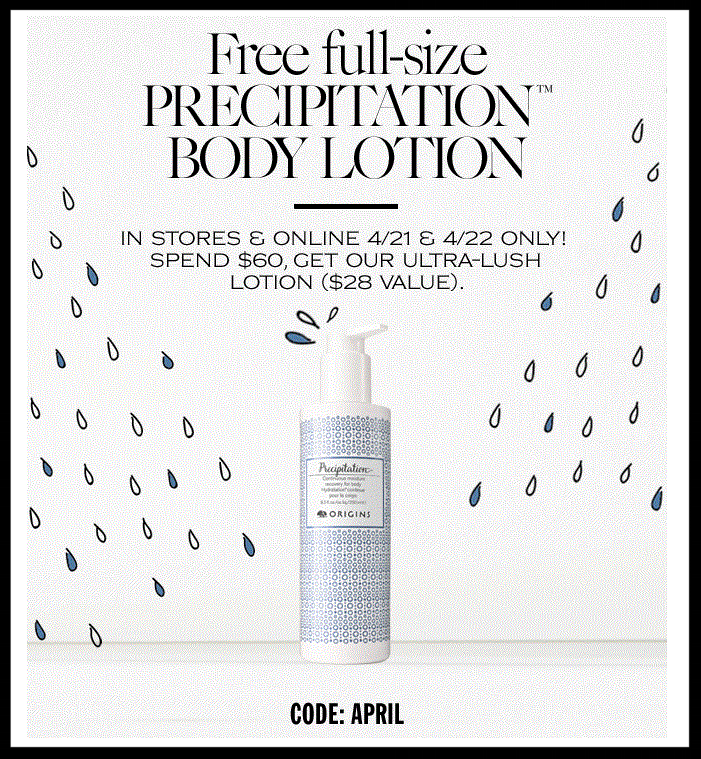 Origins ~ Earth Month ~ Free usable tote and skincare duo with $45 purchase with promo code: APRIL (Ends 4/23) + Free full-size lotion ($28 value) with $60 order with promo code: APRIL (Ends 4/22) + Free shipping with $35 order