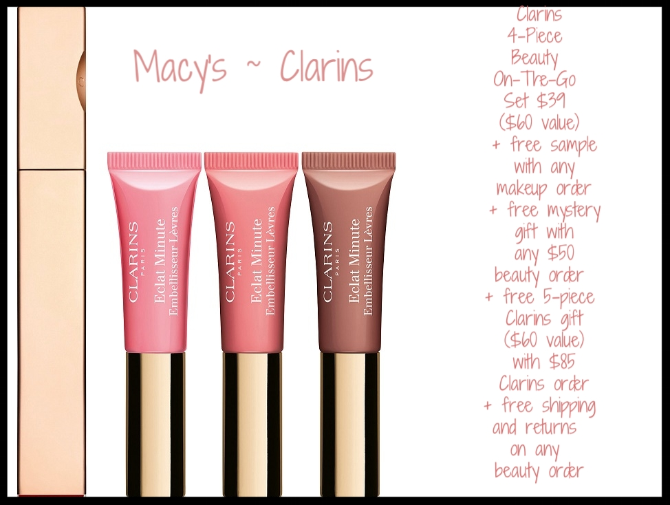 Macy's ~ Clarins ~  4-Piece Beauty On-The-Go Set  $39 ($60 value) + Free Skin Found Stick/Liquid Beautiseal with any makeup purchase + FREE Mystery Gift with $50 online beauty purchase + Choose your FREE 5-Piece Skincare Gift with $85 Clarins Purchase (A $60 Value!) + Free shipping and returns on any order (While supplies last!)