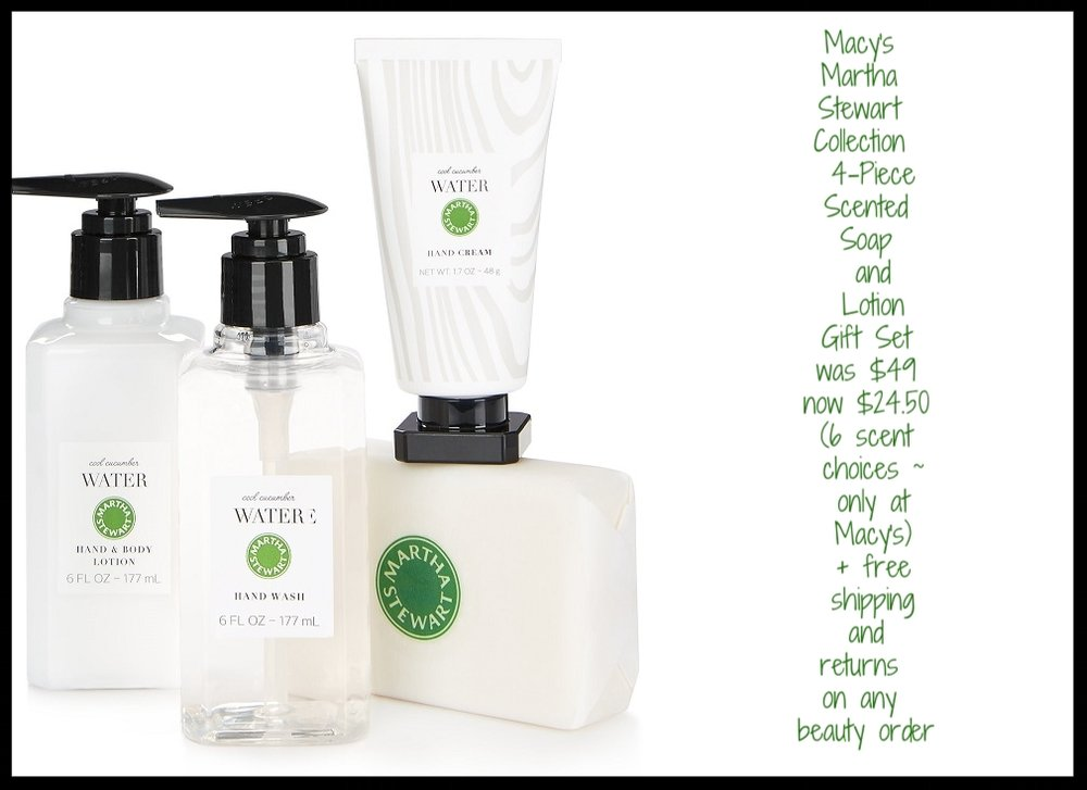 Macy's ~ Martha Stewart Collection ~ 4-Piece Scented Soap and Lotion Gift Set (6 scent choices ~ only at Macy's) + free shipping and returns on any beauty order