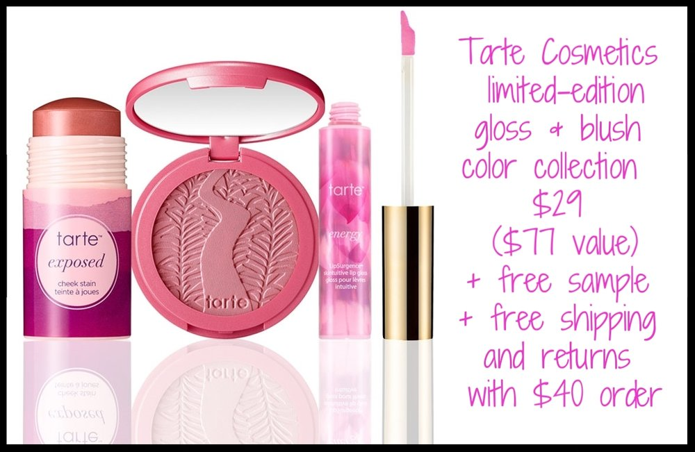 Tarte Cosmetics ~ 3-piece full-size set that's the perfect Mother's Day Gift! ~  limited-edition gloss & blush color collection  ~ $29 ($77 value) + free sample + free shipping with $40 order