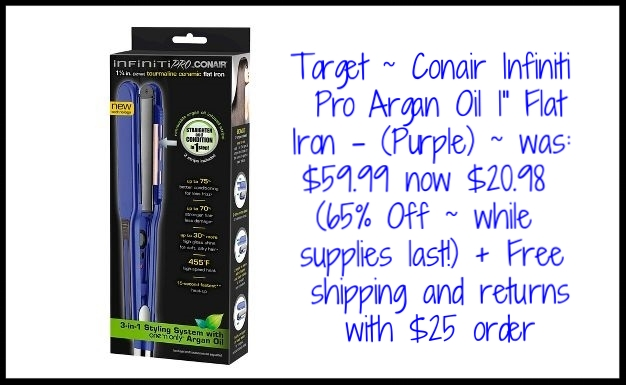 "Target ~  Conair Infiniti Pro Argan Oil 1"" Flat Iron  - (Purple) ~ was: $59.99 now $20.98 (65% Off ~ while supplies last!) + Free shipping and returns with $25 order"