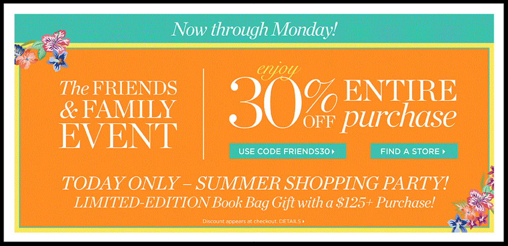 Talbots  ~ Enjoy 30% Off Entire Purchase including sale items with prom code: FRIENDS30 (Ends 5/3) + Book Bag Gift with $125 Purchase (While supplies last!) + $8 shipping