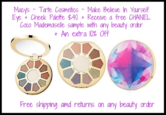 Macy's ~ Gorgeous Mother's Day Gift ~ Tarte Cosmetics ~  Tarte Make Believe In Yourself Eye + Cheek Palette  $40 + An extra 10% off with promo code: FRIEND (Ends 5/7) + Receive a complimentary CHANEL Coco Mademoiselle sample with any beauty purchase  + Receive a FREE 2-Piece Gift with any $50 Tarte Purchase  + Free Unicorn handband with any $75 Tarte purchase+ Free shipping and returns on any beauty order