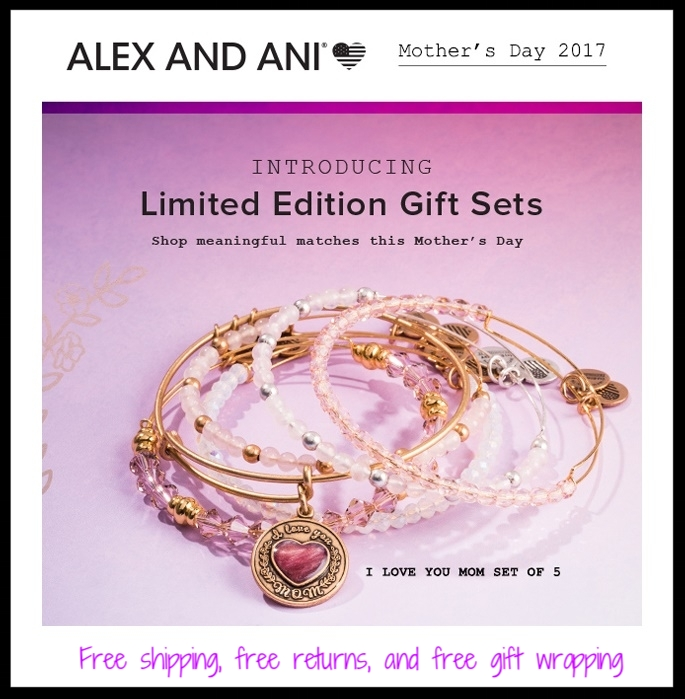 Von Maur ~  Alex and Ani  ~ $12 - $128 + Free shipping, free returns, and free gift wrapping (I love their bracelets, and Von Maur does a beautiful job with their free gift wrapping!)