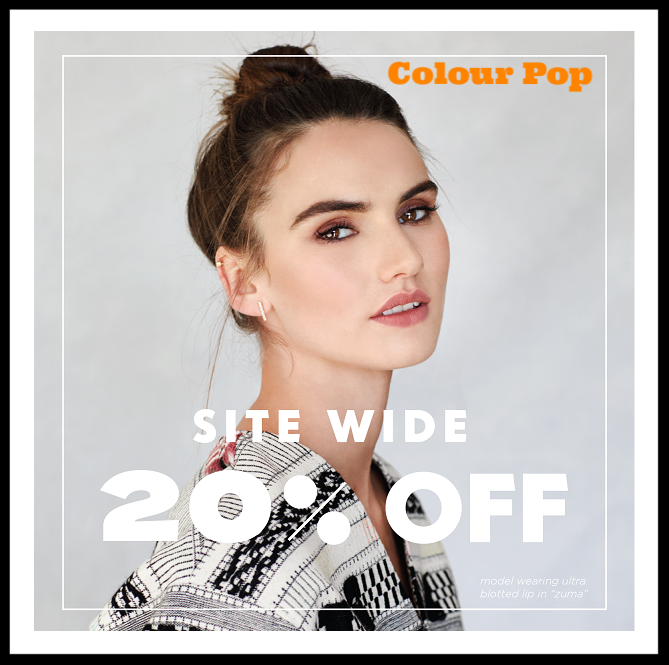 Colour Pop  ~ 20% Off Site-wide + Free US Shipping with $30 order and free International Shipping with $50 order