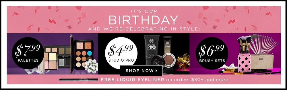 bh cosmetics  ~ It's their Birthday ~ Free Liquid Eyeliner with $30 purchase (Ends 5/1) + Free shipping with $45