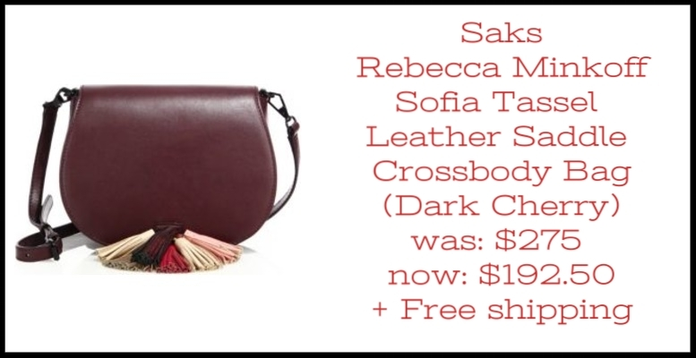 Saks ~ Rebecca Minkoff ~ Sofia Tassel Leather Saddle Crossbody Bag (Exclusively at Saks ~ Dark Cherry) ~ was: $275 now: $192.50 + Free shipping