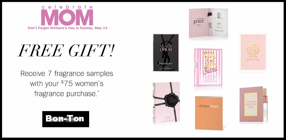 Bon-Ton ~  Free 7-Piece Fragrance Sampler  with $75 Women's Fragrance Purchase + An extra 10% off with promo code: BEAUTYOFFER (Ends 5/7) + Free shipping on any beauty order with promo code: BEAUTY (Both codes combined)
