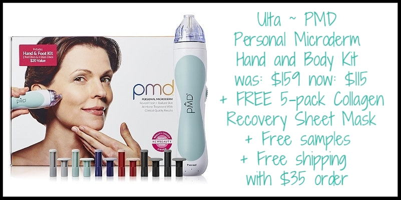 Ulta ~ PMD ~  Personal Microderm Hand and Body Kit  ~ was: $159 now: $115 + FREE 5-pack Collagen Recovery Sheet Mask with any PMD Device purchase (Ends 5/14) + Free samples with every purchase + Free shipping with $35 order