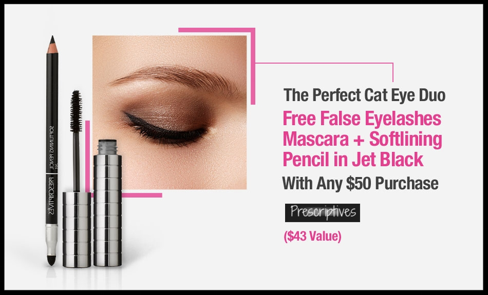 Prescriptives  ~ Free Cat Eye Duo ($43 value ~ no promo code needed) + 2 free deluxe samples with $25 purchase + Free shipping and returns on any order
