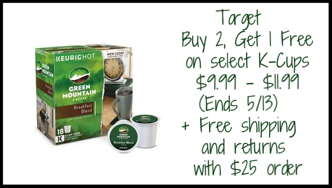 Target ~ Buy 2, Get 1 Free on select Green Mountain and Original Donut Shop beverage K-Cup pod multi-pack items ~ $9.99 - $11.99 (Ends 5/13) + Free shipping and returns with $25 order