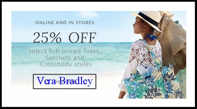 Vera Bradley ~ 25% Off Select full-priced Totes, Satchels, and Crossbody Styles (Ends 5/7 ~ Excludes the Collegiate Collection and Disney-exclusive products) + Free shipping