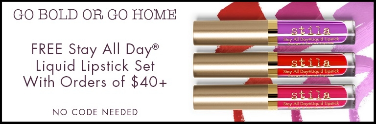 Stila ~ Free Liquid Lipstick Set with $40 purchase (No promo code needed ~ ends 5/9 at 11:45PM PST) + Free shipping with $50 order