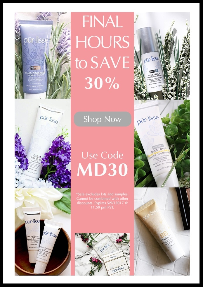 Pur‑lisse ~ 30% Off Flash Sale with promo code: MD30 (Excludes kits and clearance ~ Ends 5/9 at 11:59PM PST) + Free deluxe sample with $50 purchase + Free US shipping with $50 order and free Canadian shipping with $75 order