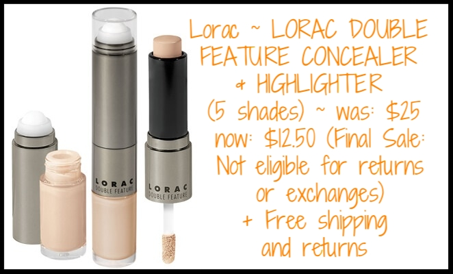 Lorac ~ LORAC DOUBLE FEATURE CONCEALER & HIGHLIGHTER (5 shades) ~ was: $25 now $12.50 (Final Sale: Not eligible for returns or exchanges) + Free shipping and returns