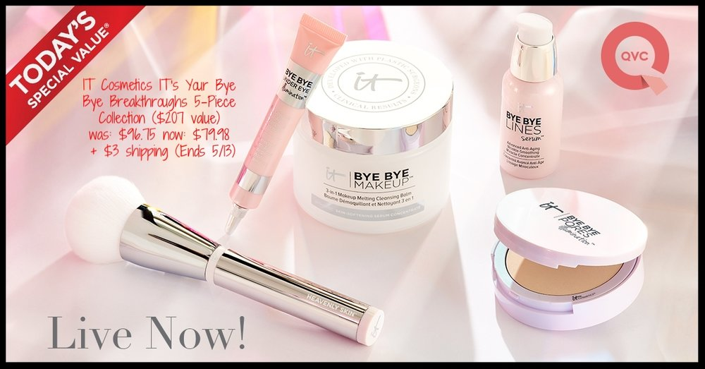 QVC  ~ Today's Special Value ~ IT Cosmetics IT's Your Bye Bye Breakthroughs 5-Piece  Collection ($207 value ~ Choose Single Shipment or Auto-Delivery) ~ was: $96.75 now: $79.98 + $3 shipping (Ends 5/13) ~ Plus all other IT Cosmetics will ship free today with this TSV Collection!