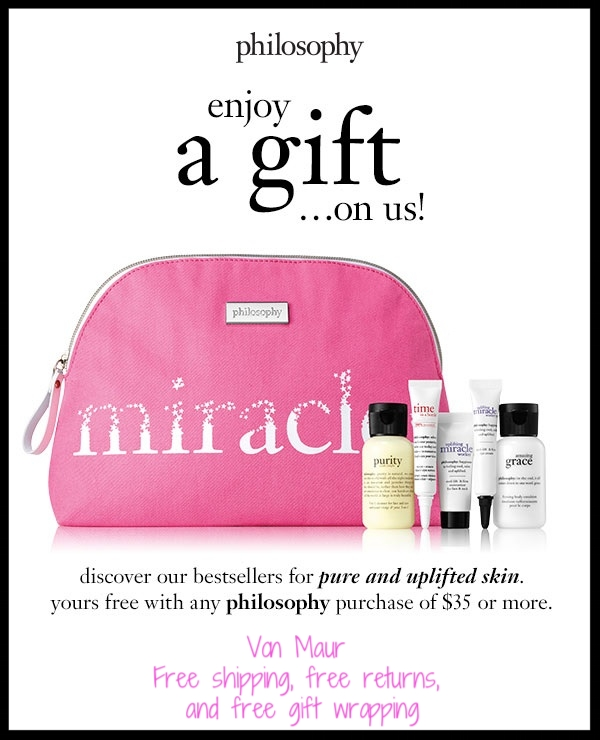 Von Maur  ~ Free 6-Piece Philosophy Gift with $35 Philosophy Purchase + Free shipping, free returns, and free gift wrapping