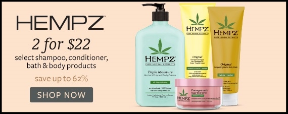 Beauty Brands ~  Hempz  Select Shampoo, Conditioner, Bath & Body Products ~ 2 for $22 + Free sampler bag + Free shipping with $50 order