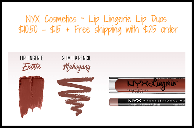 NYX Cosmetics ~  Lip Lingerie Lip Duos  ~ $10.50 - $15 + Free shipping with $25 order
