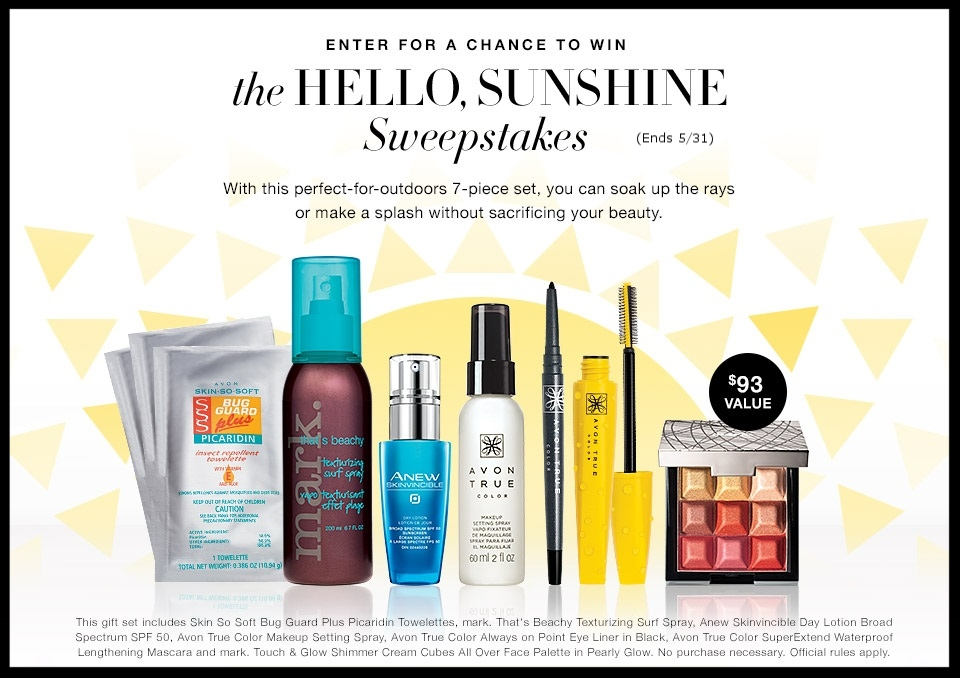 Avon ~  The Hello, Sunshine Sweepstakes  ~ Enter for a chance to win a 7-Piece Set ($93 value - ends 5/31)