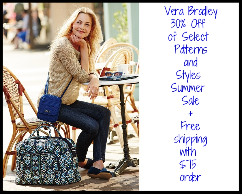 Vera Bradley  ~ 30% Off of Select Patterns and Styles Summer Sale + Free shipping with $75 order