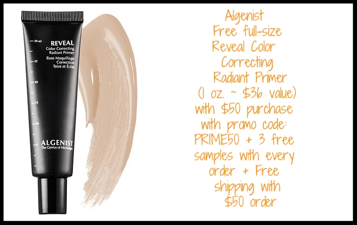 Algenist ~ Free full-size Reveal Color Correcting Radiant Primer (1 oz. ~ $36 value) with $50 purchase with promo code: PRIME50 + 3 free samples with every order + Free shipping with $50 order
