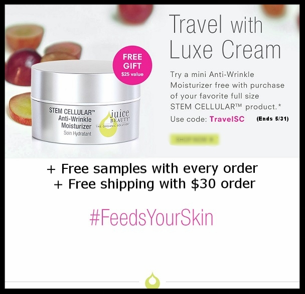 Juice Beauty ~ Free Anti-Wrinkle Moisturizer mini with purchase of your favorite full-size Stem Cellular product with promo code: TRAVELSC (Ends 5/31) + Free samples with every order + Free shipping with $30 order