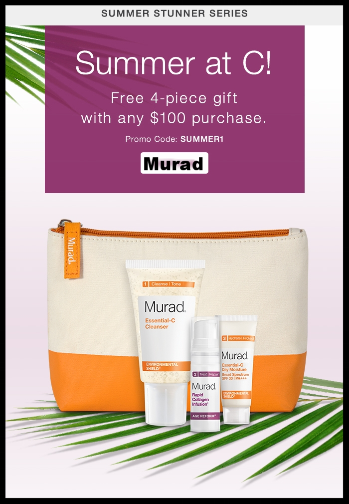 Murad  ~ Free 4-Piece Gift with $100 purchase with promo code: SUMMER1 (Ends 6/9) + 3 free samples with every order + Free shipping with $50 order