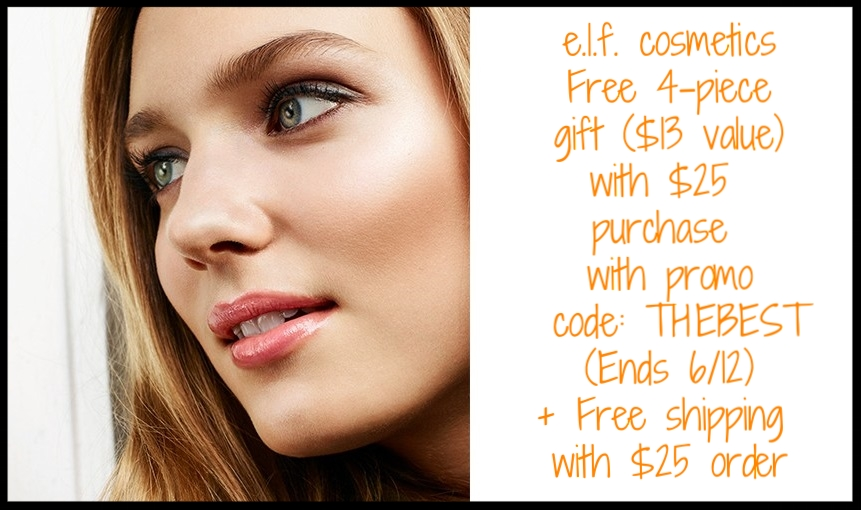 e.l.f. cosmetics ~ Free 4-piece gift ($13 value) with $25 purchase with promo code: THEBEST (Ends 6/12) + Free shipping with $25 order