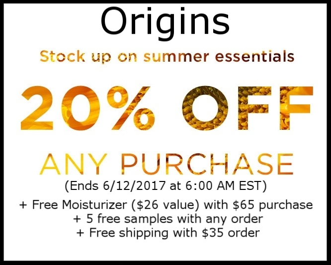 Origins  ~ 20% Off any purchase + Free Super Deluxe Moisturizer ($26 value) with $65 purchase (Ends 6/12/2017 at 6:00 AM EST) + 5 free samples with any order + Free shipping with $35 order
