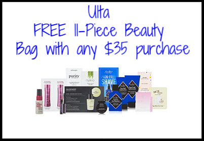 Ulta ~ FREE  11-Piece Beauty Bag  with any $35 purchase + FREE Deluxe  Sexy Hair  Big Sexy Hair Powder Play Volumizing and Texturizing Powder with any purchase + Free samples + Free shipping with $50 order (Just add these freebies to your cart ~ while supplies last!)