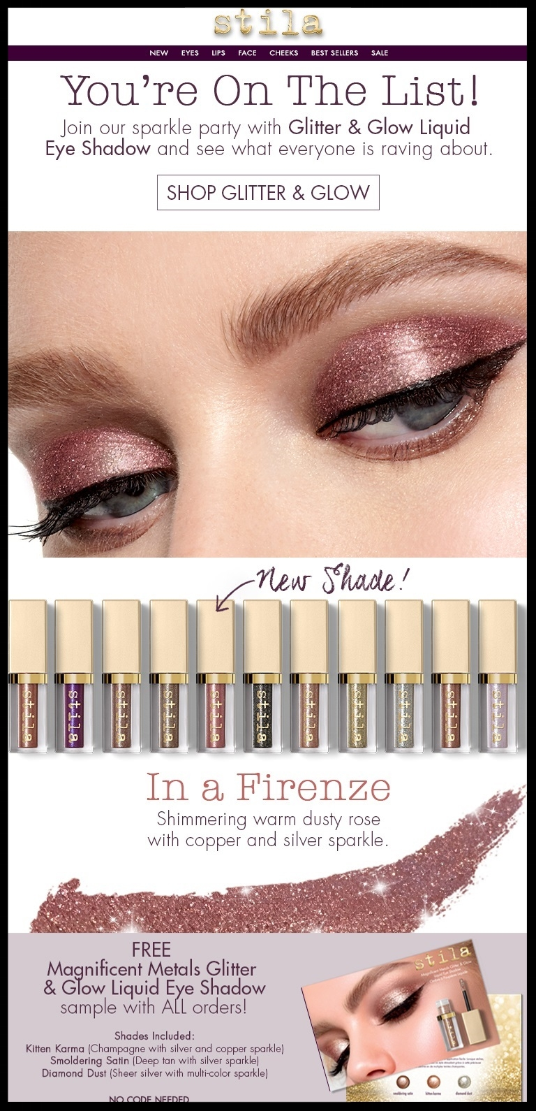 Stila  ~ Free Glitter & Glow Eye Shadow Sample Trio with every order (Ends 6/10) + Free shipping with $50 order