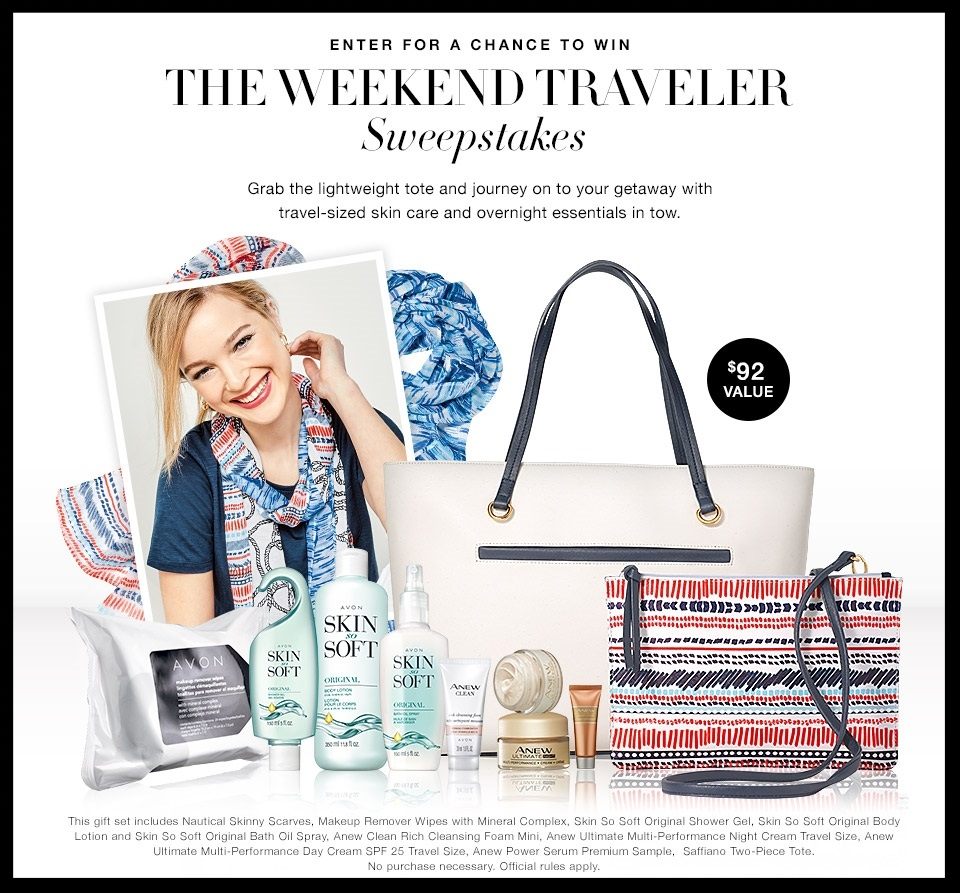 Avon ~  Enter  for the chance to win The Weekend Traveler Sweepstakes ($92 value) No purchase necessary. Open to legal residents of the 50 U.S. & DC, including authorized independent Avon sales representatives, 18 or older. Sweepstakes ends 11:59 p.m. ET 7/5/17.